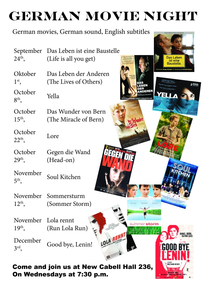 German Movie Night schedule